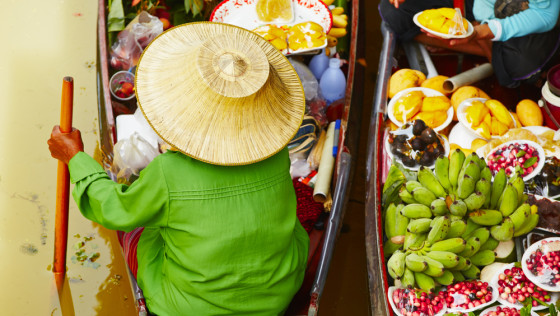 See the traditional floating markets filled with colorful produce and other regional goods.