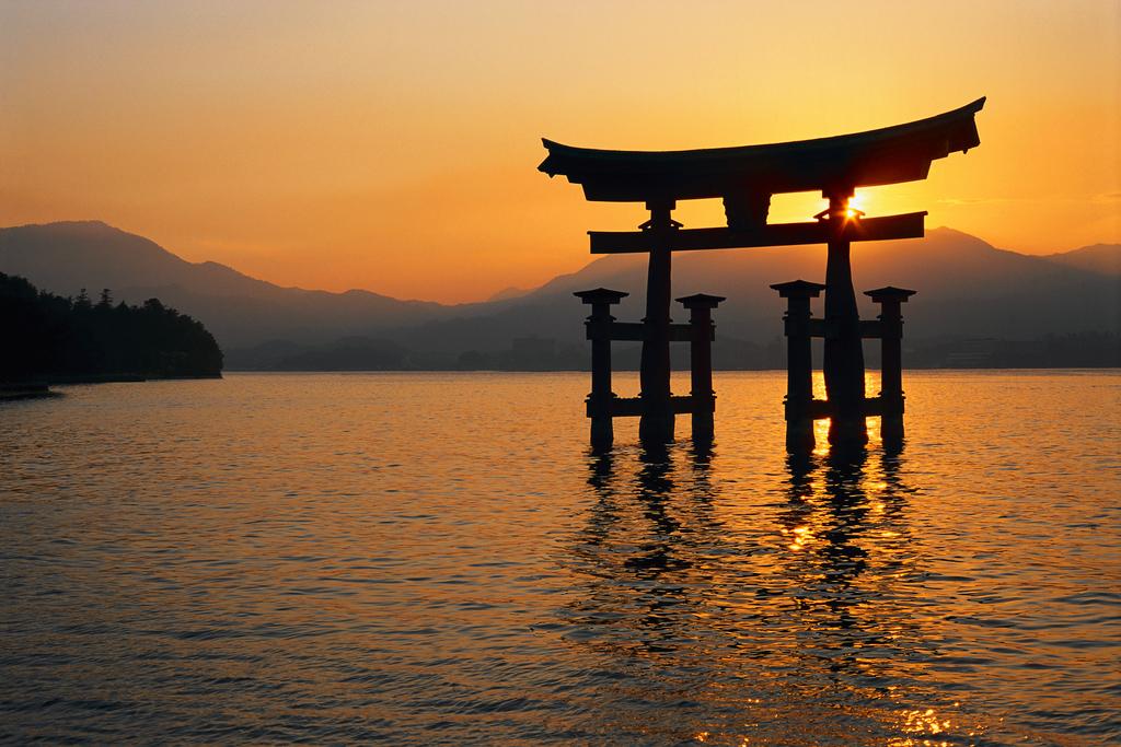 Torii Gate of Itsukushima Jinja Shrine at Sunset